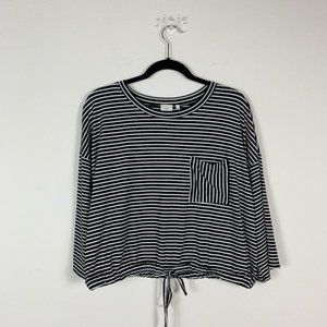 Good Luck Gem black and white striped crop Top XS